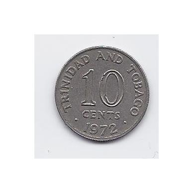 TRINIDADAS IR TOBAGAS 10 CENTS 1972 KM # 3 VF