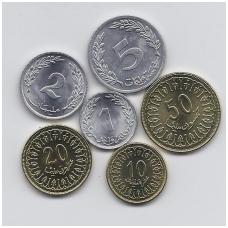 TUNISAS 1969 - 2007 m. 6 monetų komplektas