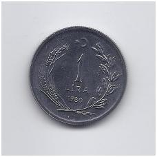 TURKIJA 1 LIRA 1980 KM # 937 UNC FAO