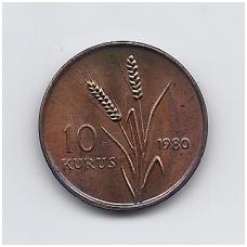 TURKIJA 10 KURUS 1980 KM # 935 AU FAO