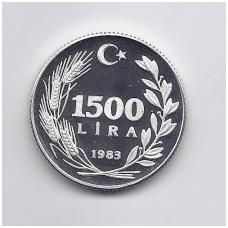 TURKIJA 1500 LIRA 1983 KM # 958 PROOF FAO