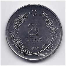 TURKIJA 2 1/2 LIRA 1977 KM # 910 UNC FAO