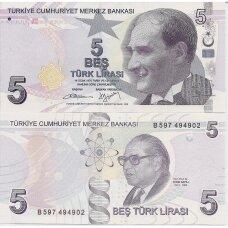 TURKIJA 5 LIRA 2009 (2013) P # 222b UNC