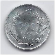TURKIJA 500 LIRA 1980 KM # 940 AU FAO