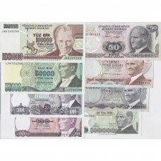 TURKIJA 8 banknotų rininys