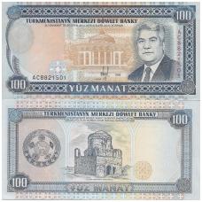 TURKMĖNISTANAS 100 MANAT 1995 P # 6b AU