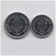 TURKMĖNISTANAS 500 ir 1000 MANAT 1999 KM # 12 - 13 UNC