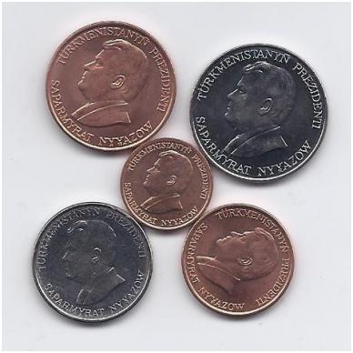 TURKMĖNISTANAS 1993 m. 5 monetų rinkinukas 2