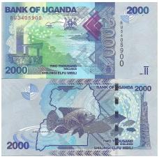UGANDA 2000 SHILLINGS 2017 P # 50d UNC