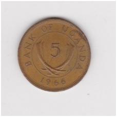 UGANDA 5 CENTS 1966 KM # 1 VF