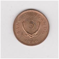 UGANDA 5 CENTS 1966 KM # 1 VF-XF