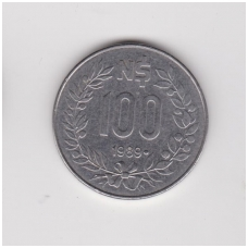 URUGVAJUS 100 NUEVOS PESOS 1989 KM # 96 VF-XF
