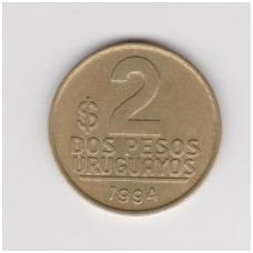 URUGVAJUS 2 NUEVO PESO 1994 KM # 104 VF