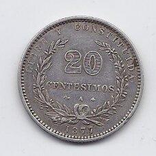 URUGVAJUS 20 CENTESIMOS 1877 KM # 15 VF