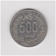 URUGVAJUS 500 NUEVOS PESOS 1989 KM # 98 VF