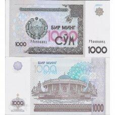 UZBEKISTANAS 1000 SOM 2001 P # 82 UNC
