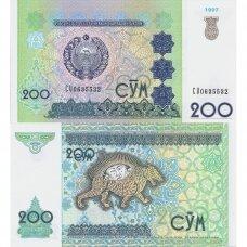 UZBEKISTANAS 200 SOM 1997 P # 80 UNC
