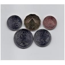 VANUATU 2015 m. penkių monetų komplektas 5 - 100 vatu
