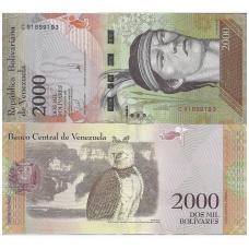 VENESUELA 2000 BOLIVARES 2016 P # NEW UNC