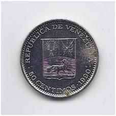 VENESUELA 50 CENTIMOS 1990 Y # 41a VF