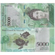 VENESUELA 5000 BOLIVARES 2017 P # NEW UNC