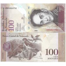 VENEZUELA 100 BOLIVARES 2013 P # 93 UNC