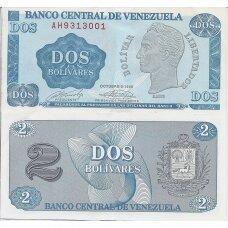 VENEZUELA 2 BOLIVARES 1989 P # 69 AU