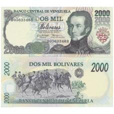 VENESUELA 2000 BOLIVARES 1998 P # 77b UNC
