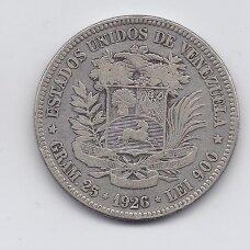 VENESUELA 5 BOLIVARES 1926 Y # 24 VF
