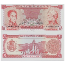 VENEZUELA 5 BOLIVARES 1989 P # 70b UNC