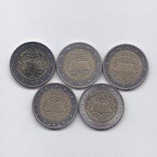 VOKIETIJA 2 EURAI 2007 ROMOS SUTARTIS 5 MONETOS IŠ APYVARTOS (A,D,F,J,G)