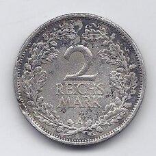 VOKIETIJA 2 REICHSMARK 1926 A KM # 45 VG