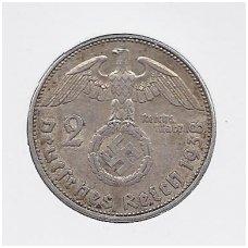 VOKIETIJA 2 REICHSMARK 1938 E KM # 93 VF