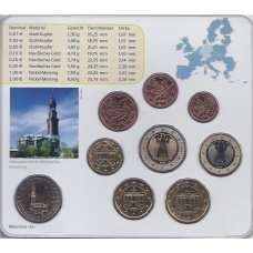 VOKIETIJA 2008 m. EURO MONETŲ RINKINYS SU PROGINE 2 EURŲ MONETA ( D )