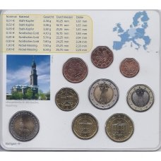 VOKIETIJA 2008 m. EURO MONETŲ RINKINYS SU PROGINE 2 EURŲ MONETA ( F )