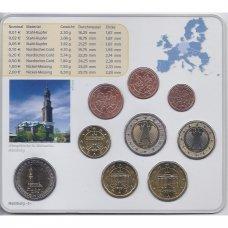 VOKIETIJA 2008 m. EURO MONETŲ RINKINYS SU PROGINE 2 EURŲ MONETA ( J )