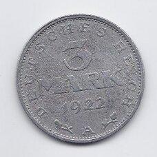 VOKIETIJA 3 MARK 1922 A KM # 29 VF