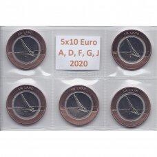 VOKIETIJA 5 X 10 EURO 2020 ŽEMĖ (A,D,F,J,G)
