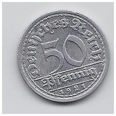 VOKIETIJA 50 PFENNIG 1921 J KM # 27 XF
