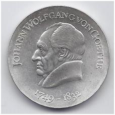 VOKIETIJA ( DEMOKRATINĖ ) 20 MARK 1969 KM # 25 AU J. W. GOETHE ( GĖTĖ )