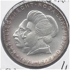 VOKIETIJA ( DEMOKRATINĖ ) 20 MARK 1971 KM # 32 AU ROSA LUXEMBURG