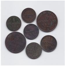 VOKIETIJA IMPERIJOS ĮVAIRIŲ ŽEMIŲ RINKINUKAS ( 7 monetos )