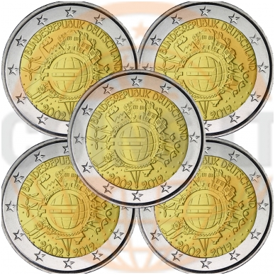 VOKIETIJA 2 EURAI 2012 10m. EURUI 5 MONETOS (A,D,F,J,G)