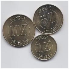 ZAIRAS 1987 - 1988 m. 3 monetų komplektas