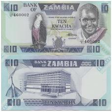 ZAMBIJA 10 KWACHA 1980 - 1988 P # 26e UNC