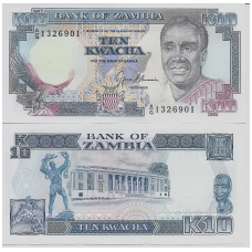 ZAMBIJA 10 KWACHA 1989 - 1991 P #31b UNC