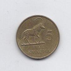 ZAMBIJA 5 KWACHA 1992 KM # 31 VF