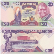 ZAMBIJA 50 KWACHA 1986 - 1988 P # 28 UNC