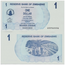 ZIMBABVĖ 1 DOLLAR 2006 P # 37 UNC