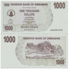 ZIMBABVĖ 1000 DOLLARS 2006 P # 44 UNC